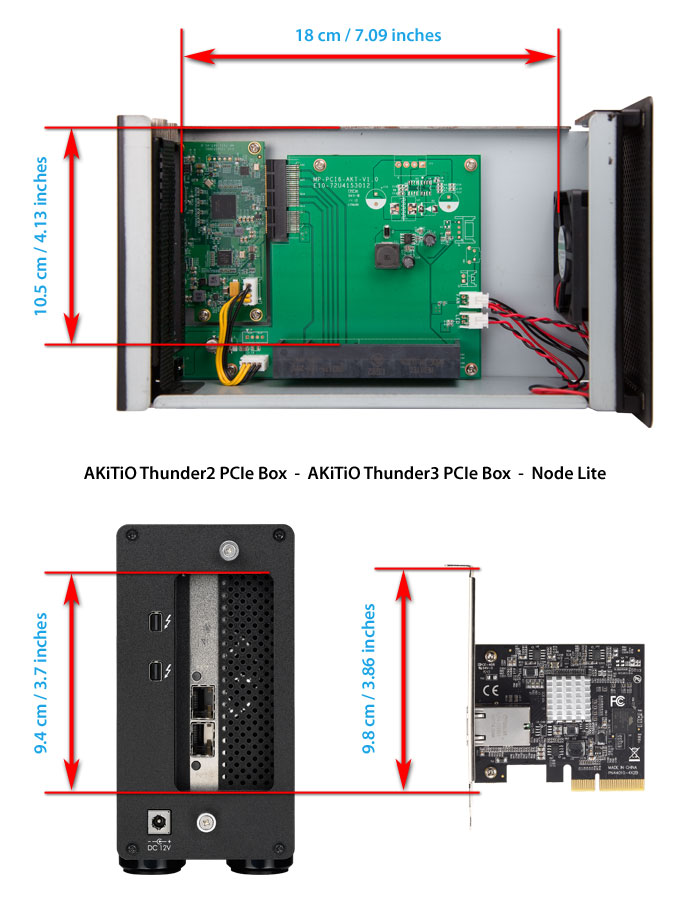 akitio thunder2 pcie box card dimensions2
